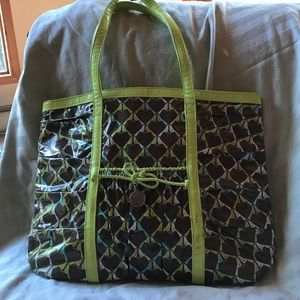 Vera Bradley vinyl birds large tote/laptop bag