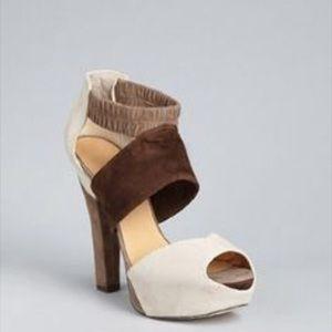 LAMB Brown Cream Suede Colorblock Platform Heels 9