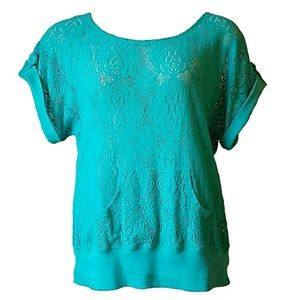 Miss Chievous Tops - Miss Chievous Teal Lace Top w/ Hoodie Pocket