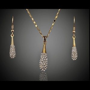 Anthropologie Jewelry - Gold Plated Austrian Crystal Water Drop Set