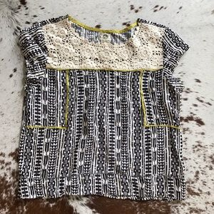 Anthropologie Tops - Anthropologie Tiny printed crochet top L