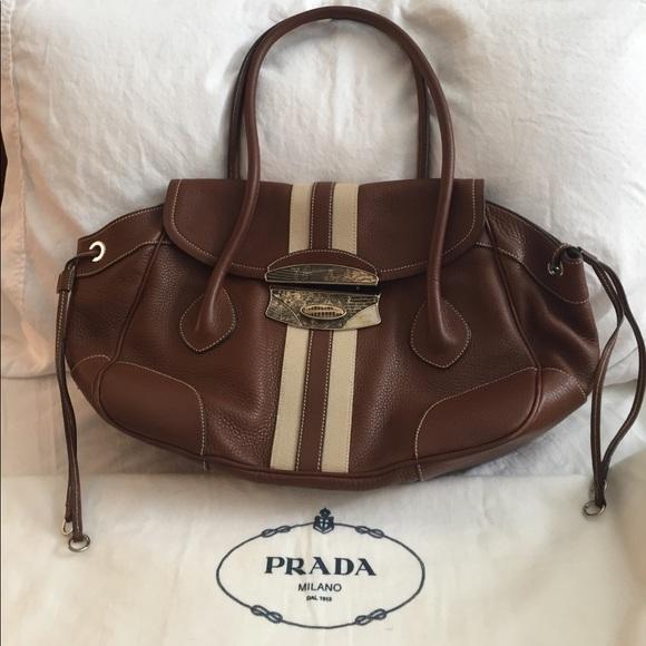 1e7f35d963 ... wholesale authentic brown pebble leather prada handbag. 0cfb7 0a41e