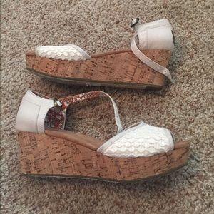 Toms Shoes - TOMS beige crochet platform wedge sandals