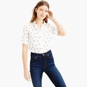 J. Crew Perfect Shirt on Onyx Dot