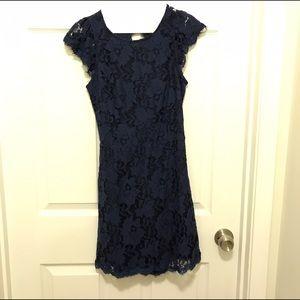 Dresses & Skirts - Navy Blue Lace Mini Dress