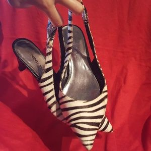 Zebra print Nine West 6.5 used sling backs