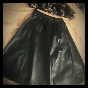 Zara Leather Midi Skirt
