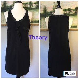 Theory Black Cotton Dress W/Silk Edging All Over