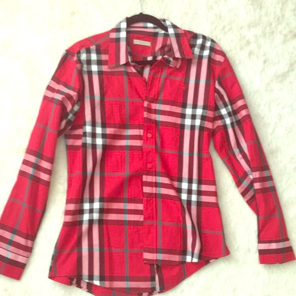 69 off burberry tops burberry brit plaid flannel shirt for Burberry brit green plaid shirt