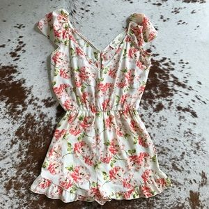 Urban Outfitters Pants - Pins and needles floral ruffle romper S