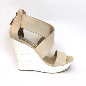 Diane Von Furstenberg Shoes - DVF Nude Leather Platform Wedge Sandals