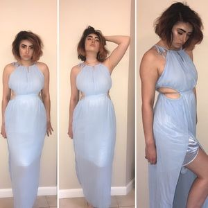 Choies Dresses & Skirts - Blue cut out maxi dress with side slits size small