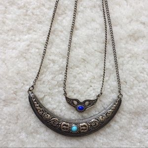Vintage Jewelry - Vintage double layered silver necklace