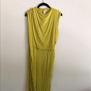 H&M chartreuse Grecian midi dress.