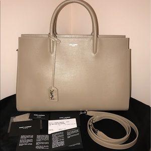 Yves Saint Laurent Handbags - Saint Lauren Cabas Rive Gauche Bag Medium in Beige