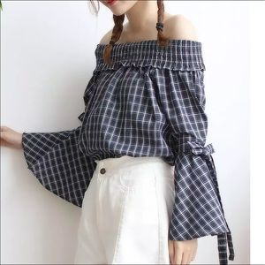 Tops - 🔥Gingham Ruched Off Shoulders Bell Sleeves🔥