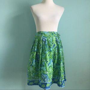 Isaac Mizrahi Blue & Green Paisley A-Line Skirt
