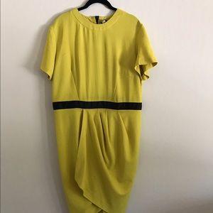 ASOS chartreuse tulip wrap dress.