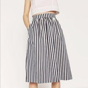 {Zara} Striped Tafetta Midi Skirt