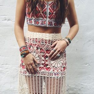 LF Tops - LF stores red tribal two piece