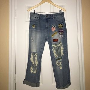 Forever 21 Boyfriend Destroyed Patch Jeans