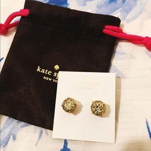 kate spade Jewelry - Kate Spade Gold Glitter Earrings, NWT