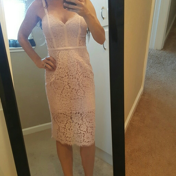 72a4c2bd05f Express piped lace sheath dress pink