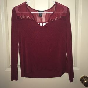 Red Long Sleeve Top with Sheer Detail