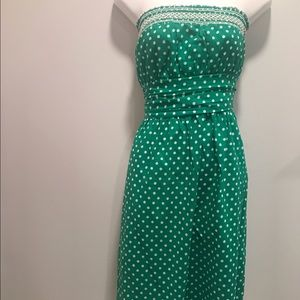 Dresses & Skirts - Vintage green and white polka dot cotton dress -L