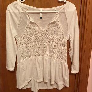 Wallflower Tops - White lace peplum 3/4 sleeve shirt