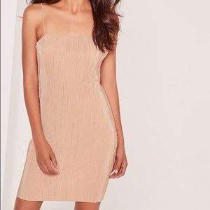 NWOT Strappy Pleated Bodycon Dress