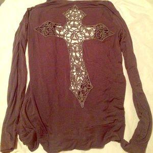 zinga Sweaters - Cardigan with lace cross back