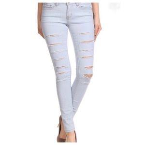 Denim - Arctic blue distressed jeans