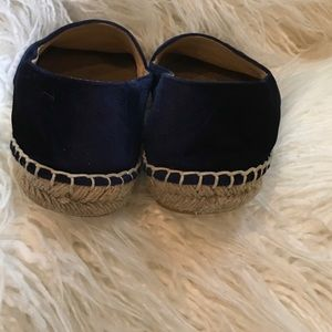 CHANEL Shoes - Blue Blk CHANEL Velvet CapToe CC Espadrilles Flats