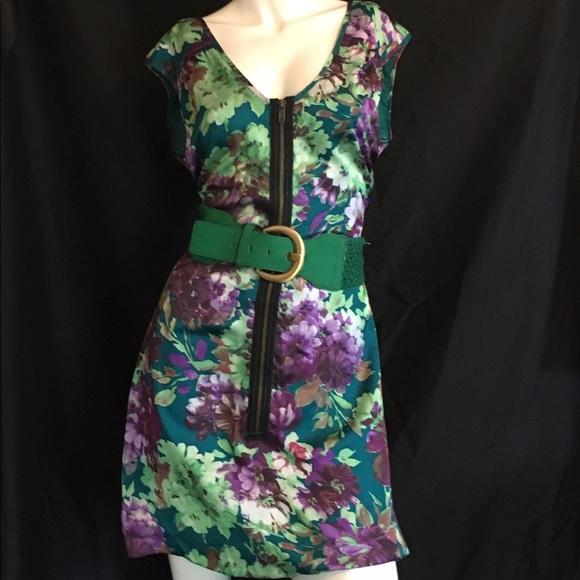 Green Satin Bloom Print Shift Dress