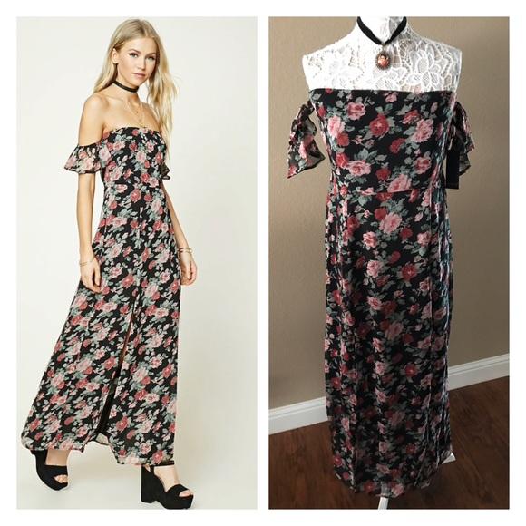 2705f73675a Forever 21 floral off the shoulder maxi dress