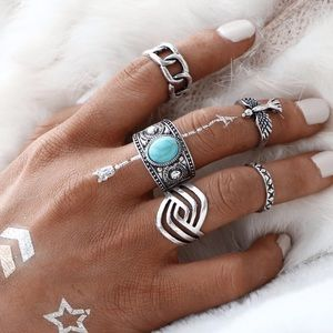 Brandy Melville Jewelry - 5 eagle chain midi ring set silver edgy