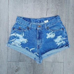Vintage Pants - Vintage 90s High Waisted Distressed Shorts