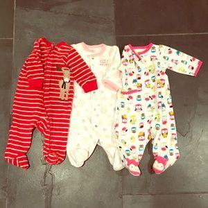 Carter's Other - Lot of 3 Girls 3M Fleece Onesie Pajamas GUC