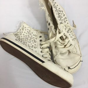 Aldo Distressed Bling High Tops Size 8 1/2