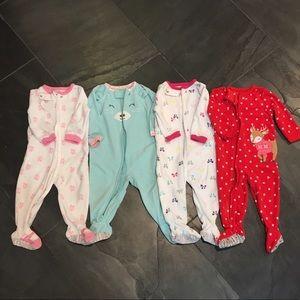 Carter's Other - Lot of 4 Girls 12M Carter's Fleece Onesie Pajamas