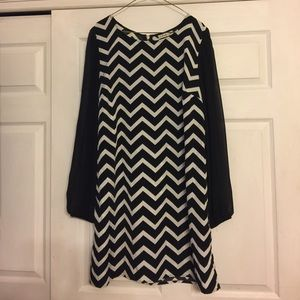 Accidentally In Love Dresses & Skirts - Chevron dress with sheer sleeves