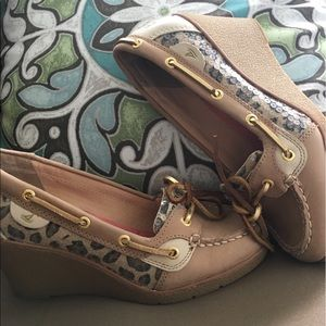 Sperry Top-Sider Shoes - Sperry goldfish wedge leopard print and sequins