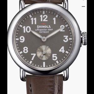 Shinola Accessories - Shinola Runwell 36mm Watch Alligator Leather Strap