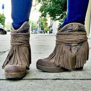 naughty monkey Shoes - Fringed Suede Boho Wedged Booties NIB ✨RESTOCKED✨