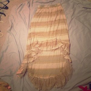 A'Reve Dresses & Skirts - Gorgeous boho tan lace high low skirt