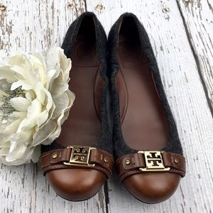 Tory Burch Shoes - 💕SALE Tory Butch Ambrose Gray Wool Brown Leather