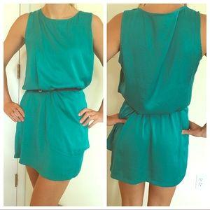Mango size small turquoise faux silk dress