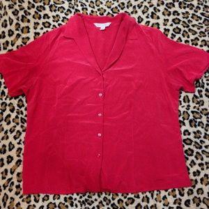 August Max Tops - August Max Woman Plus Size Button Down Silk Shirt