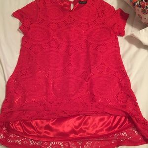 Jane.com Tops - Red lace tunic